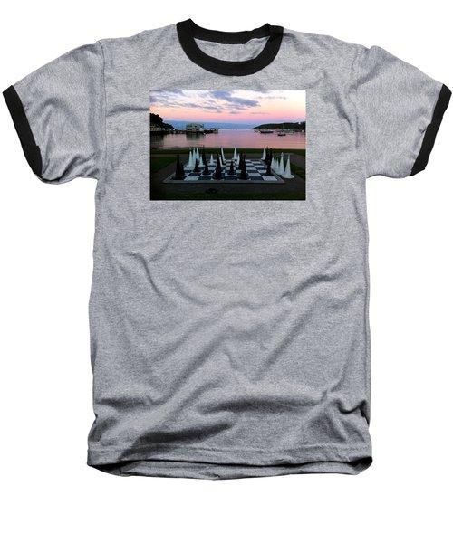 Sunset Chess At Half Moon Bay Baseball T-Shirt by Venetia Featherstone-Witty