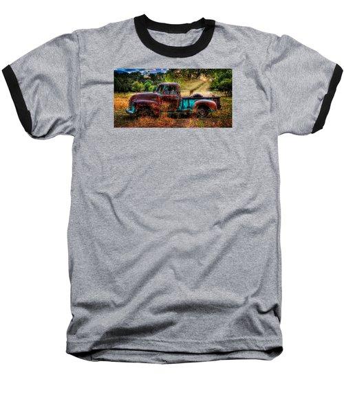 Sunset Chevy Pickup Baseball T-Shirt by Ken Smith