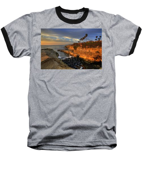 Sunset Cliffs Baseball T-Shirt by Peter Tellone