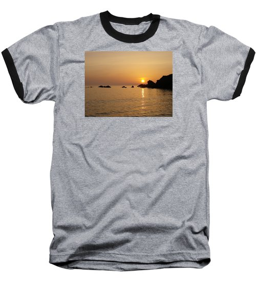 Sunset Crooklets Beach Bude Cornwall Baseball T-Shirt by Richard Brookes