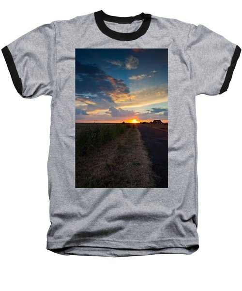 Sunset Down A Country Road Baseball T-Shirt by Mark Alder