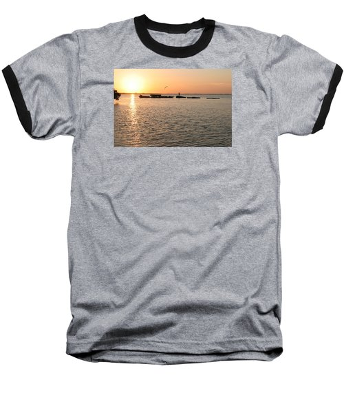 Sunset Fish Baseball T-Shirt