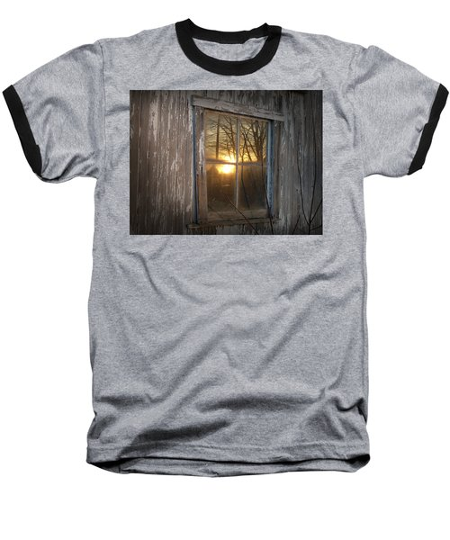 Sunset In Glass Baseball T-Shirt by Cynthia Lassiter