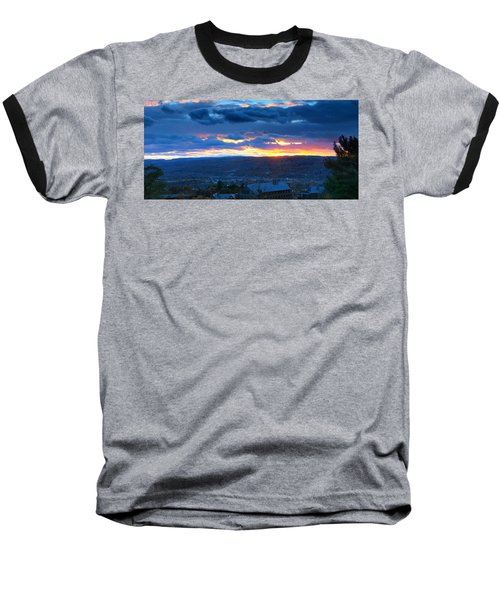 Sunset In Ithaca New York Panoramic Photography Baseball T-Shirt by Paul Ge
