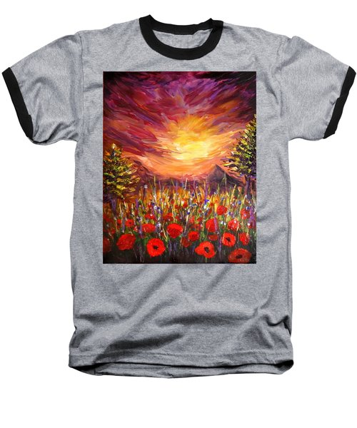 Baseball T-Shirt featuring the painting Sunset In Poppy Valley  by Lilia D