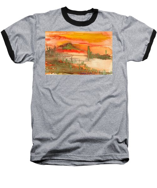 Baseball T-Shirt featuring the painting Sunset In Saguaro Desert  by Mukta Gupta