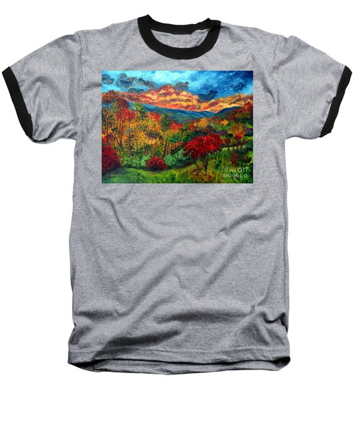Sunset In Shenandoah Valley Baseball T-Shirt by Julie Brugh Riffey