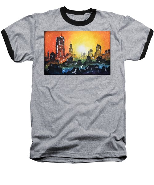 Baseball T-Shirt featuring the painting Sunset In The City by Amy Giacomelli