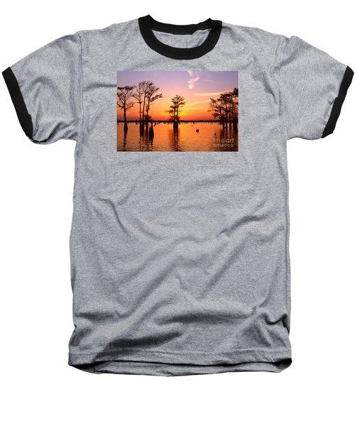 Sunset Lake In Louisiana Baseball T-Shirt