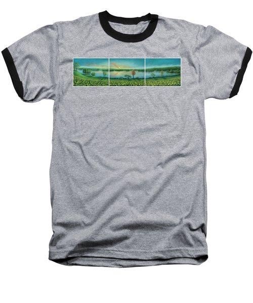 Sunset Lake Triptych Baseball T-Shirt