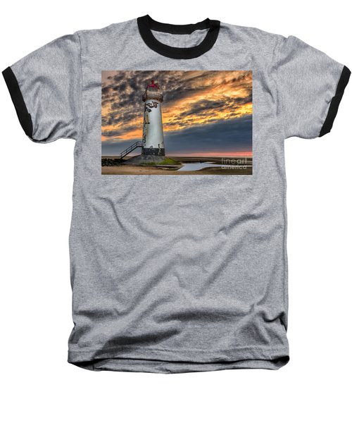Sunset Lighthouse Baseball T-Shirt by Adrian Evans