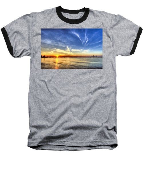Sunset Mackinac Bridge Baseball T-Shirt