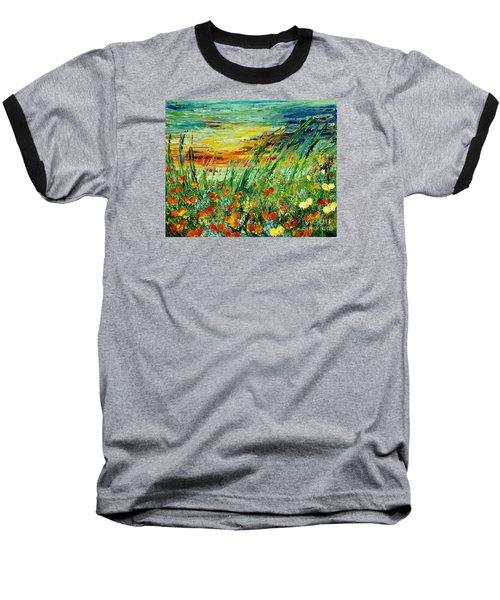 Sunset Meadow Series Baseball T-Shirt by Teresa Wegrzyn
