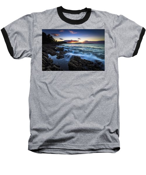 Baseball T-Shirt featuring the photograph Sunset On Ber Beach Galicia Spain by Pablo Avanzini