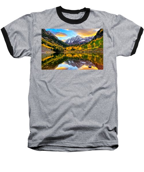 Sunset On Maroon Bells Baseball T-Shirt