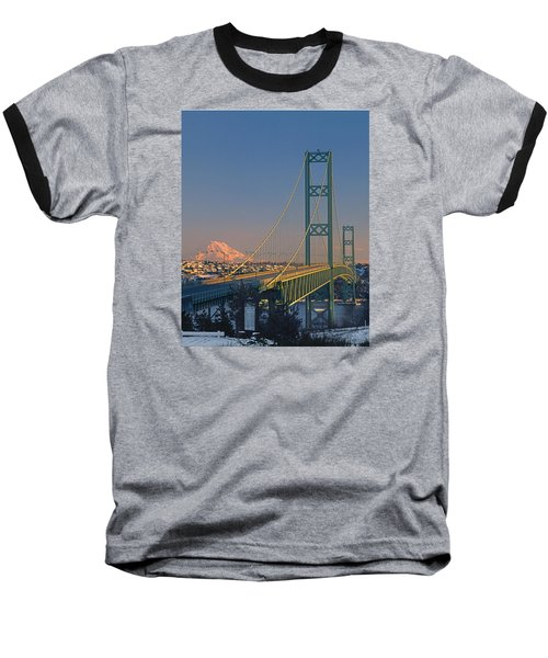 1a4y20-v-sunset On Rainier With The Tacoma Narrows Bridge Baseball T-Shirt