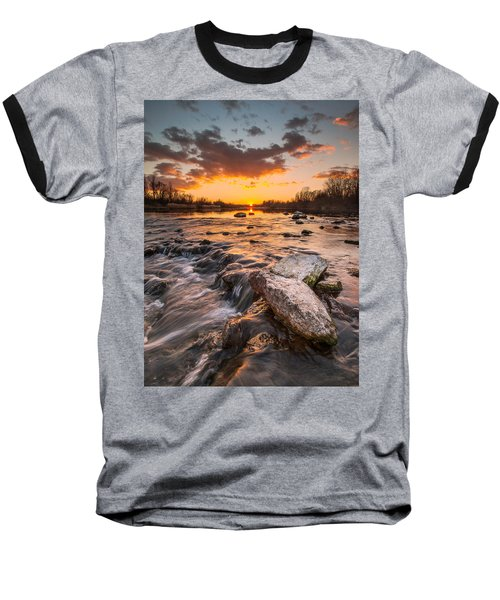 Sunset On River Baseball T-Shirt by Davorin Mance
