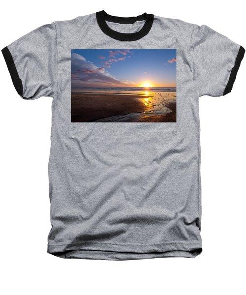 Sunset On The Beach At Carlsbad. Baseball T-Shirt by Melinda Fawver
