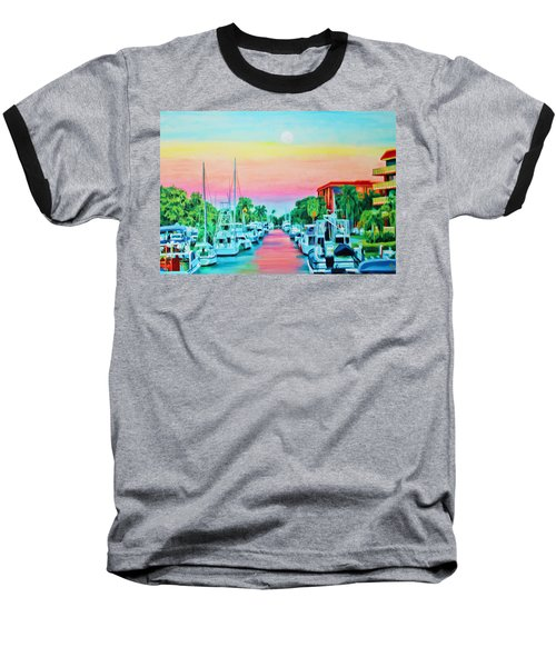 Sunset On The Canal Baseball T-Shirt