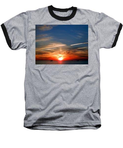 Sunset On The Gulf Of Mexico Baseball T-Shirt by Debra Martz