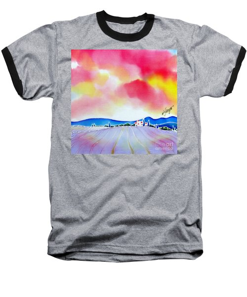 Baseball T-Shirt featuring the painting Sunset On The Lavender Farm  by Hisayo Ohta
