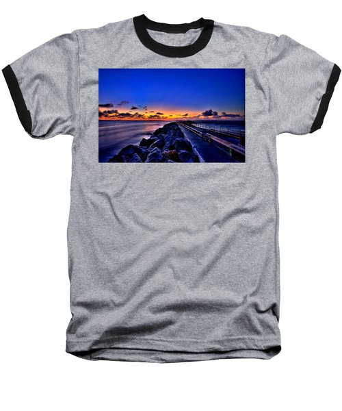 Baseball T-Shirt featuring the painting Sunrise On The Pier by Bruce Nutting