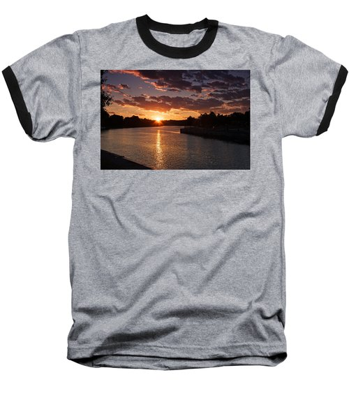 Sunset On The River Baseball T-Shirt by Dave Files