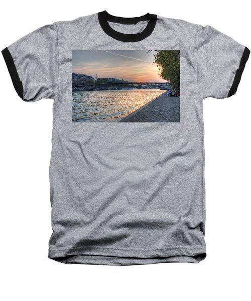 Baseball T-Shirt featuring the photograph Sunset On The Seine by Jennifer Ancker