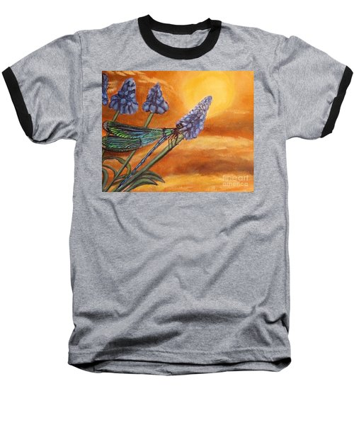Baseball T-Shirt featuring the painting Summer Sunset Over A Dragonfly by Kimberlee Baxter