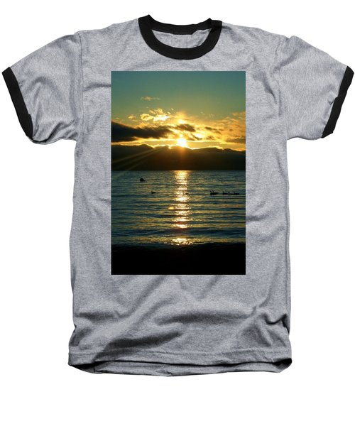 Sunset Over Lake Tahoe Baseball T-Shirt