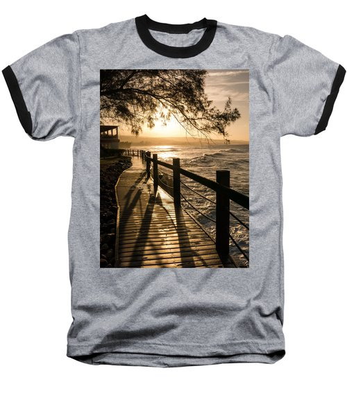 Sunset Over Ocean Walkway Baseball T-Shirt