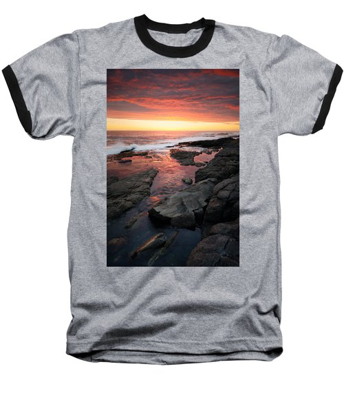 Sunset Over Rocky Coastline Baseball T-Shirt