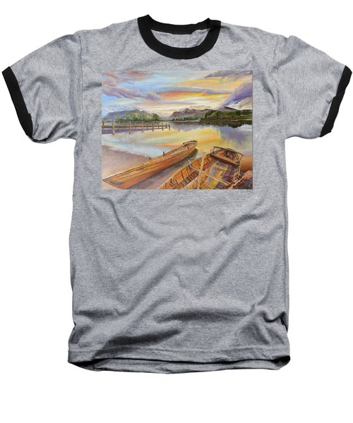 Sunset Over Serenity Lake Baseball T-Shirt by Mary Ellen Anderson