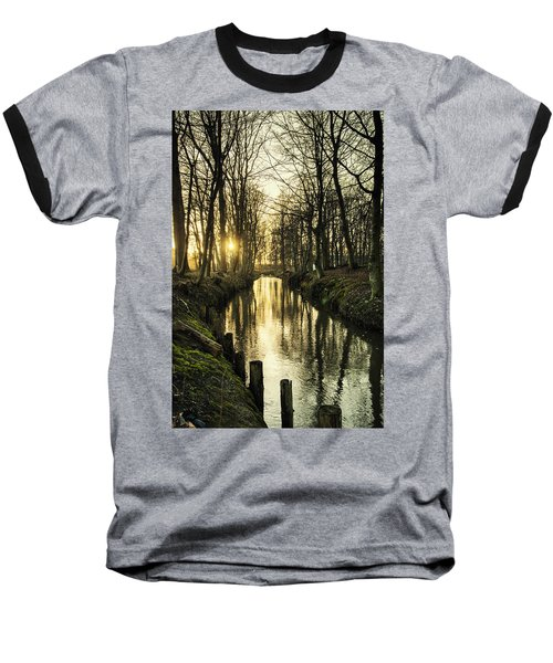 Sunset Over Stream Baseball T-Shirt
