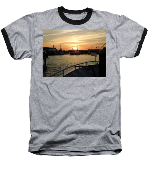 Baseball T-Shirt featuring the photograph Sunset Over The Marina by Ron Davidson
