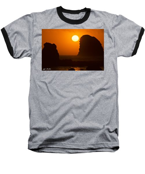 Baseball T-Shirt featuring the photograph Sunset Over The Pacific Ocean With Rock Stacks by Jeff Goulden