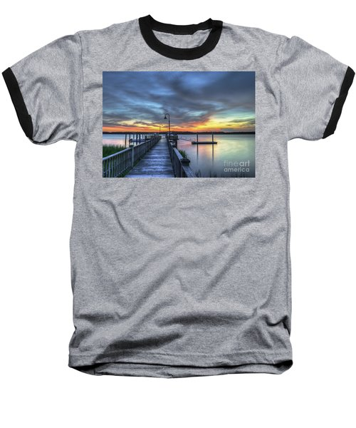 Sunset Over The River Baseball T-Shirt