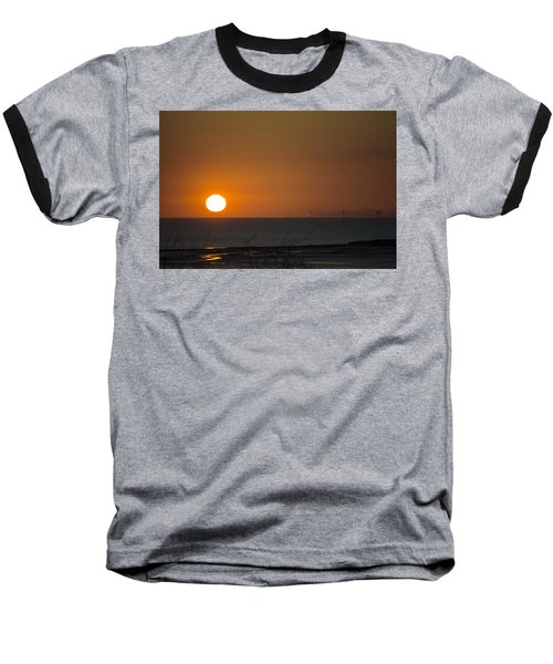 Sunset Over The Windfarm Baseball T-Shirt by Spikey Mouse Photography