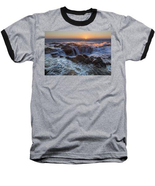 Sunset Over Thor's Well Along Oregon Coast Baseball T-Shirt