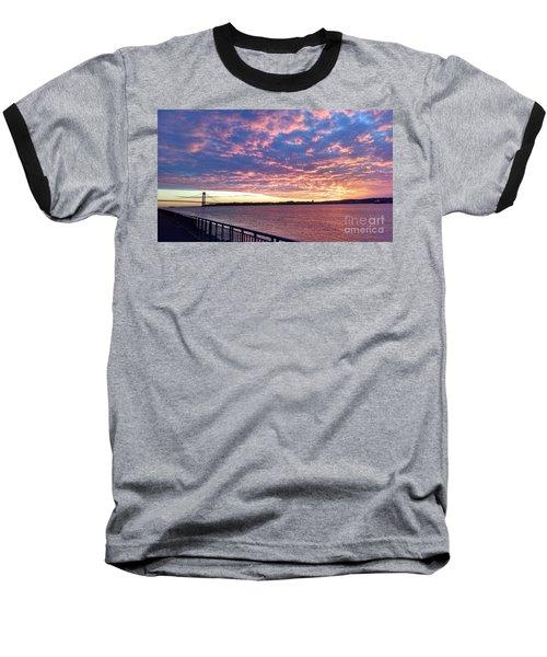 Sunset Over Verrazano Bridge And Narrows Waterway Baseball T-Shirt