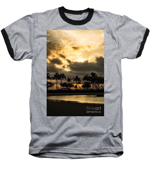 Sunset Over Waikiki Baseball T-Shirt by Angela DeFrias