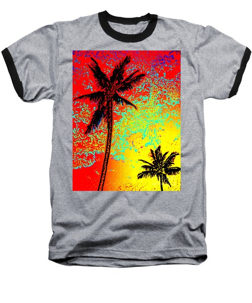 Baseball T-Shirt featuring the photograph Sunset Palms by David Lawson