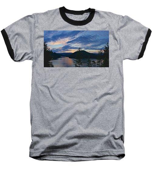 Sunset Pano - Watauga Lake Baseball T-Shirt by Tom Culver