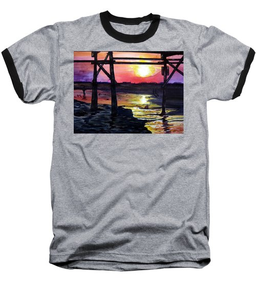 Baseball T-Shirt featuring the painting Sunset Pier by Lil Taylor