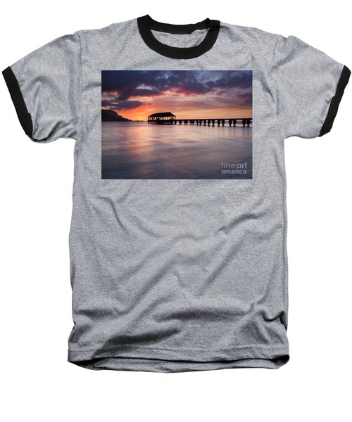 Sunset Pier Baseball T-Shirt by Mike  Dawson