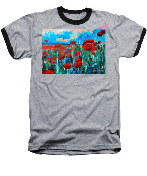 Baseball T-Shirt featuring the painting Sunset Poppies by Ana Maria Edulescu