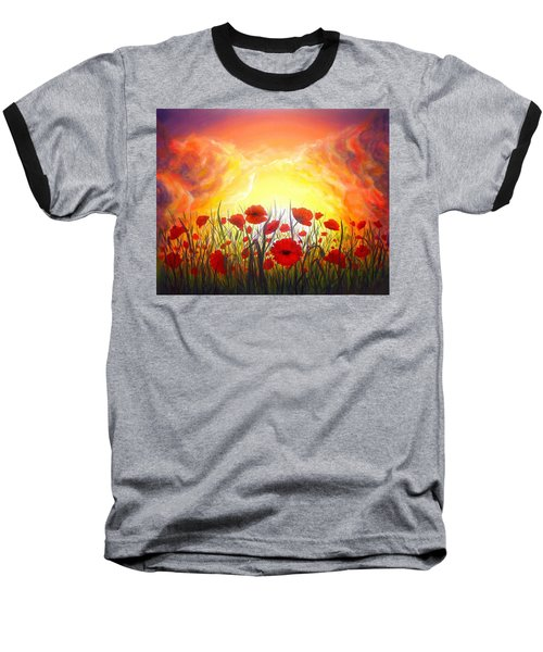 Baseball T-Shirt featuring the painting Sunset Poppies by Lilia D