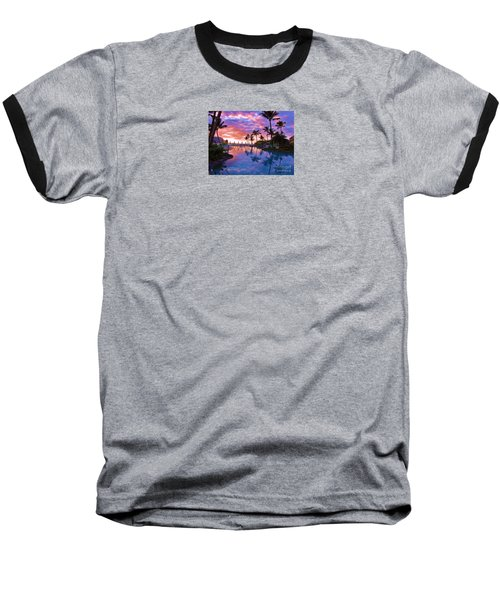 Baseball T-Shirt featuring the photograph Sunset Reflection St Regis Pool by Michele Penner