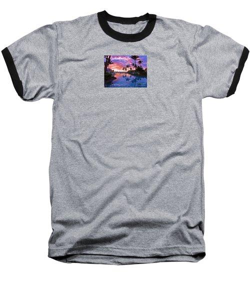 Sunset Reflection St Regis Pool Baseball T-Shirt by Michele Penner