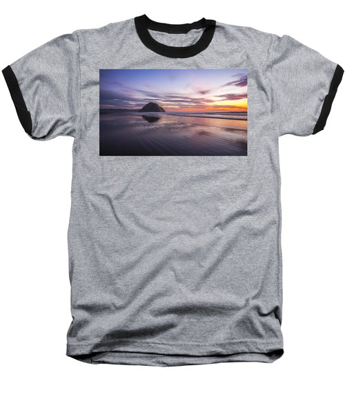 Sunset Reflections At Morro Bay Beach Rock Fine Art Photography Print Baseball T-Shirt